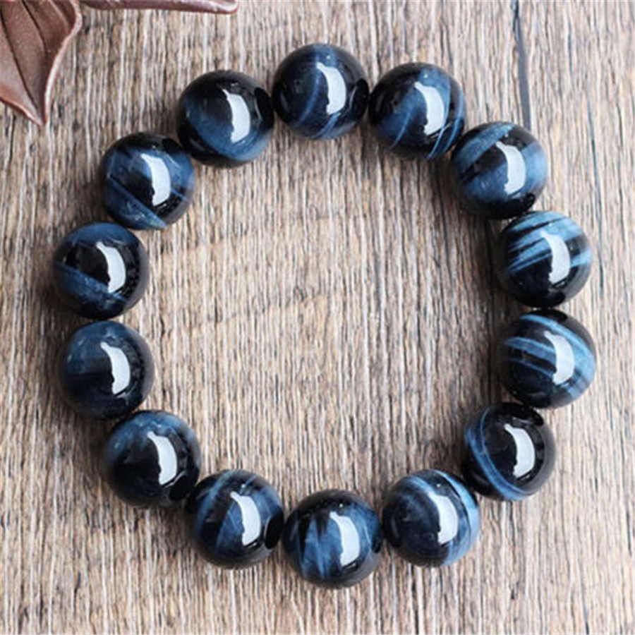 Wholesale Big 16mm Genuine Blue Tiger's Eyes Natural Stone Bracelets For Women Mens Stretch Round Beads Bracelet Free Shipping genuine green seraphinite natural stone crystal round beads 14mm women mens stretch bracelets