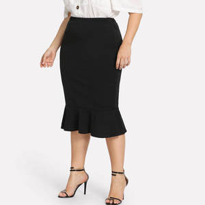 Office Skirt Business-Wear Ruffles Bodycon Plus-Size Ladies Fashion OL Slim XL-5XL