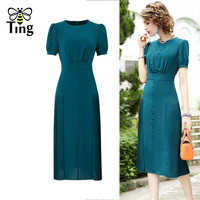 Tingfly Vintage Elegant Party Dresses Lady Office Work Dress Decorative Buttons Pleated Slim Knee Length Dress Plus Size 3XL