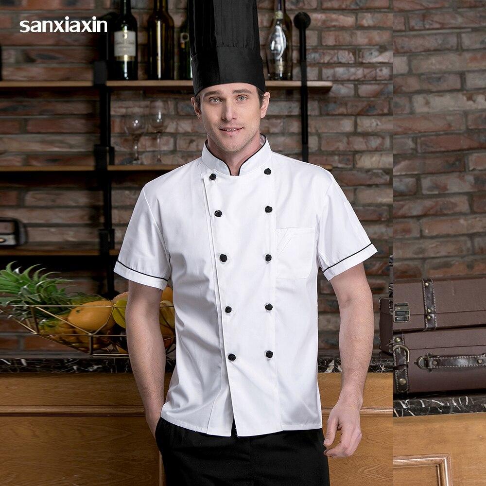 Unisex High Quality Casual Soft Chef Jackets Short Sleeve Kitchen Catering Restaurant Food Serive Work Uniform Shirt Men Chef