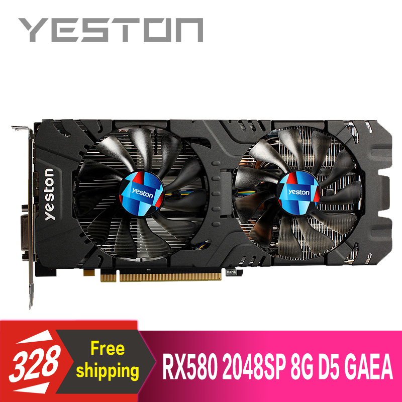 Yeston Radeon RX580 2048SP 8G GDDR5 PCI Express x16 3 0 video gaming graphics card external