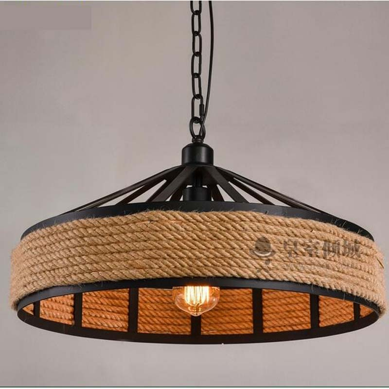 48CM Vintage rope pendant light industrial park creative coffee bar guests bedroom lights attic iron pendant lamps GY259