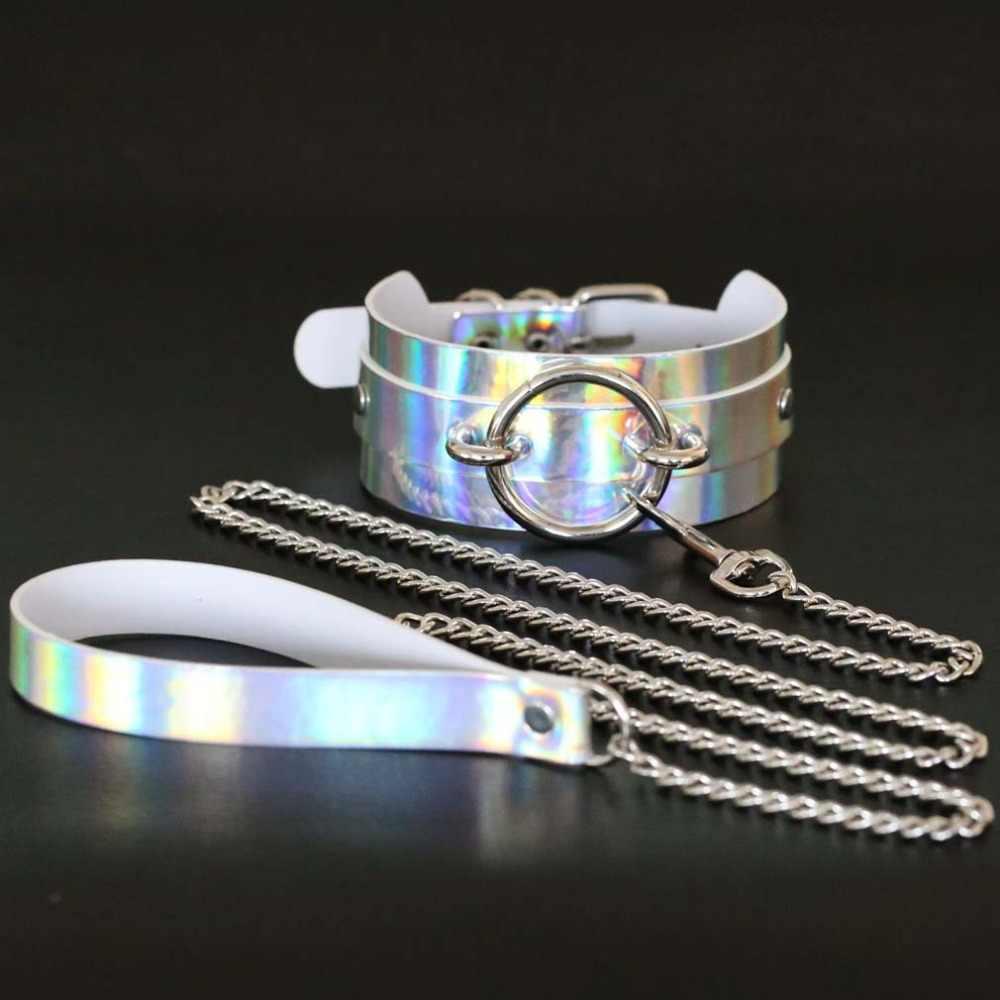 Transparent holographic bdsm choker collar for women