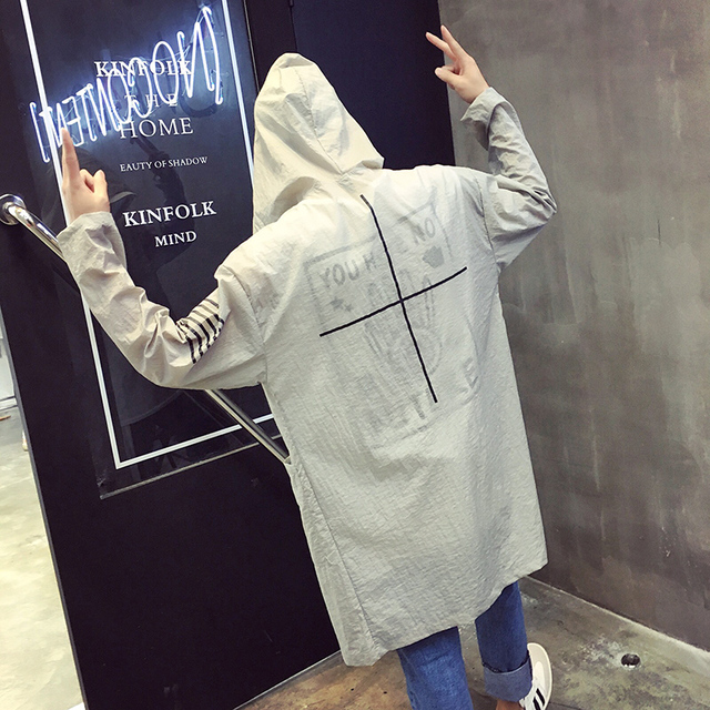 Quick dry long thin coat men women summer sunscreen loose trench coat male fashion casual hooded trench jacket D217