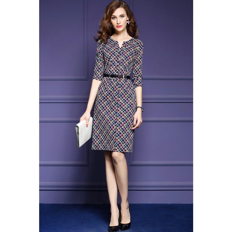Zmvkgsoa Elegant Autumn Vintage Dress Fall Women Casual Half Sleeve Knee Length Multicolor Plaid A-Line Dress Feminina Y1697 1