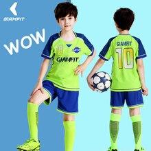 Купить с кэшбэком Custom Soccer Jersey Camisas De Futebol 2019 Jersey Kids Short Sleeves Football Shirts Team Training Uniform Sets DIY Kits 4XS-M