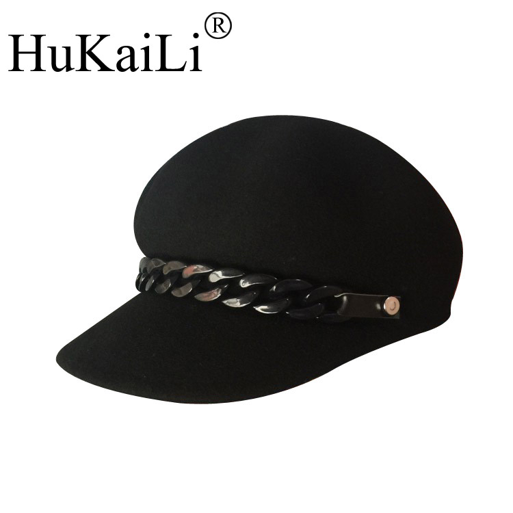 Adult classic European and American black chain octagonal cap restoring ancient ways men and women hat baseball cap cloth french polishing finishing and restoring using traditional techniques
