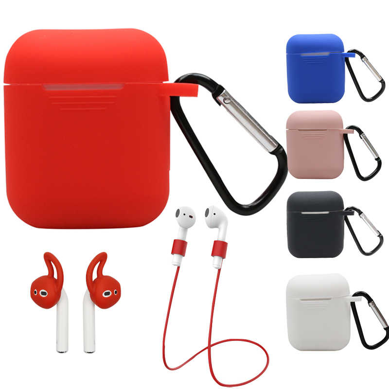 Silicone Case Cover for Airpods Earphones Anti-lost Wire Eartips For Apple Air Pods Bluetooth Wireless Headphone Accessories
