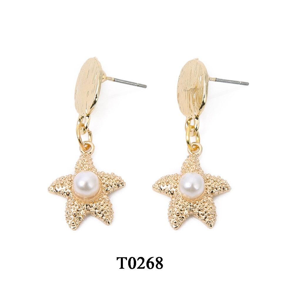 T0268A,合金珍珠海星吊坠耳环,大约15X35mm