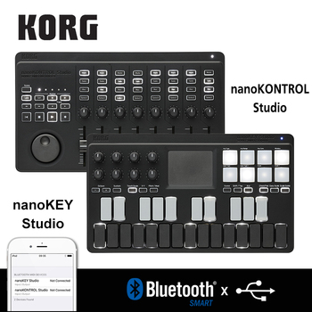 Korg nanoKONTROL Studio/nanoKEY Studio Keyboard Controller Bluetooth/USB MIDI Control Surface with 8 Faders and Backlit Switches