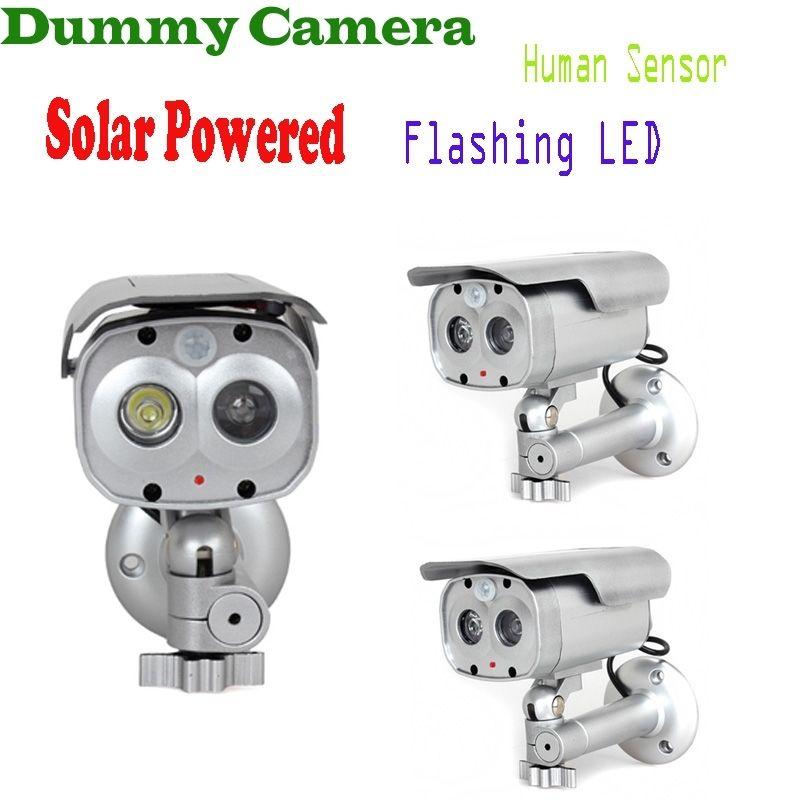 ФОТО 3pcs/lot Motion Detection Bullet Camera Security Dummy Solar Powered w/ Flashing LED