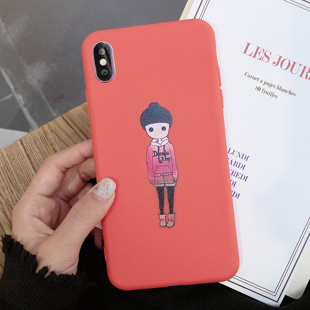 KIPX1077D_1_JONSNOW Couples Style Phone Case for iPhone 6S 7 8 Plus Cartoon Painted Back Cover for iPhone X XR XS Max Soft Silicone Case