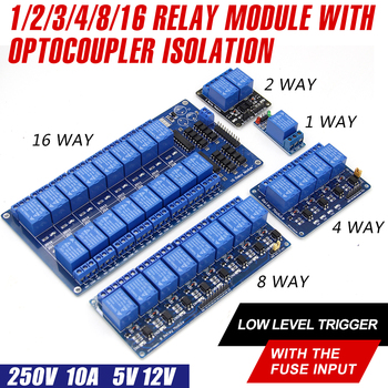 цена на WAVGAT 5V 12V low level trigger 1 2 4 8 16 Channel Relay Module interface Board Shield For PIC AVR DSP ARM MCU Arduino