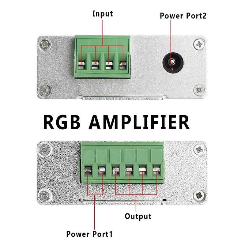 Image 4 - Amplificador RGB RGBW, DC12 24V 24 A, circuito de salida de 4 canales, carcasa de aluminio, controlador de tira led, repetidor de señal de datosControladores RGB   -