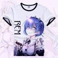 Re: Cero Isekai kara Hajimeru Seikatsu Camiseta Anime Emilia Rem Cosplay Camiseta de Estudiante de la Historieta Tops Camisetas