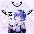 Re: Zero Hajimeru kara Isekai Seikatsu T-shirt Anime Emilia Rem Cosplay T Camisa Dos Desenhos Animados Estudante Tops Tees
