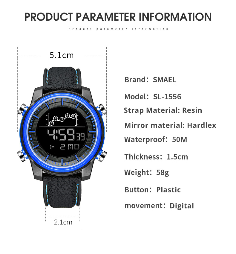 SMAEL Quartz Men's Watches lovers Oversize LED Digital Fashion watch S waterproof luxurious 1556 stainless steel for male watch 4