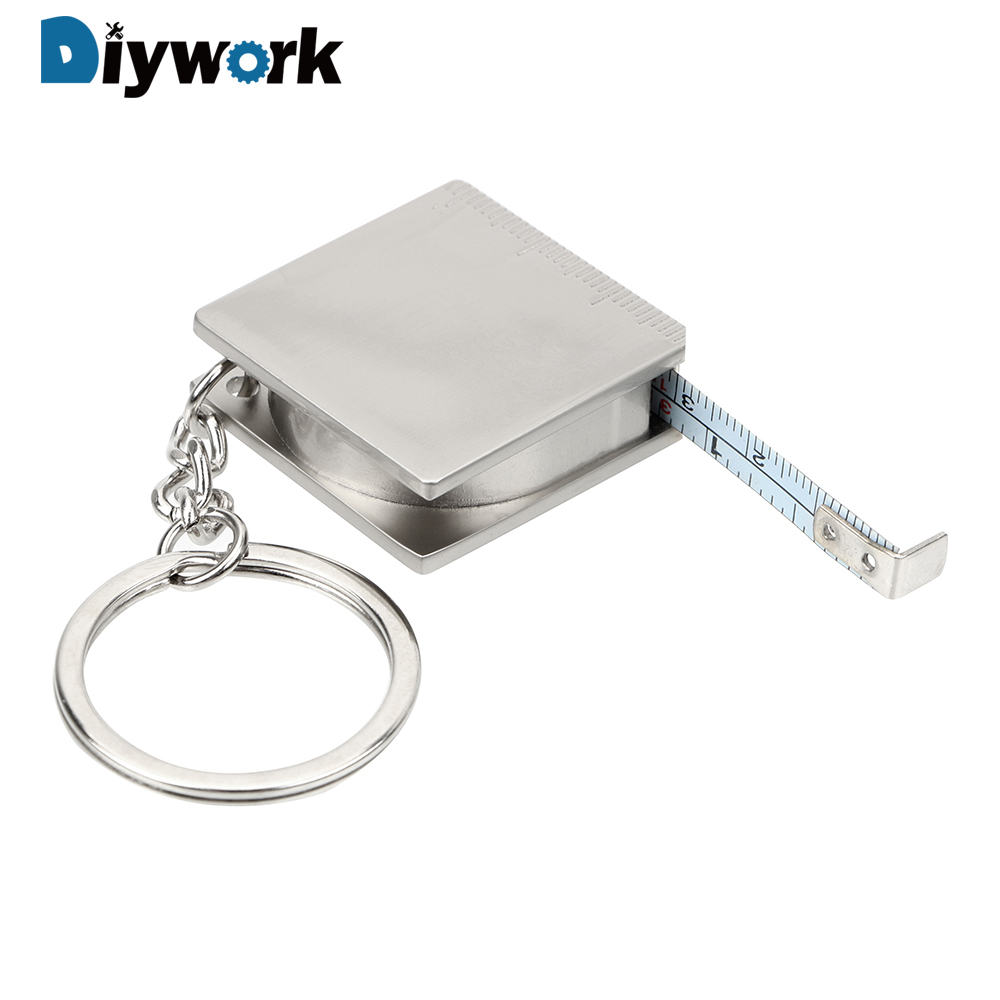 DIYWORK Measuring Tools Stainless Steel Retractable Ruler Tape Measure Keychain Key Ring Gauging Tools Keyring Pull Ruler