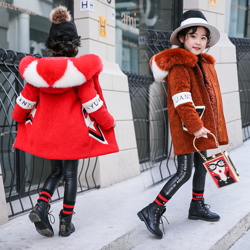 2018 New Winter Girls Clothing Faux Fur Fleece Coat Warm Jacket Fashion Hooeded Outerwear Children Kids Clothes Cotton-parka 2018 girls winter coat warm jacket fashion hooeded jeans outerwear children clothing kids cotton parka coats