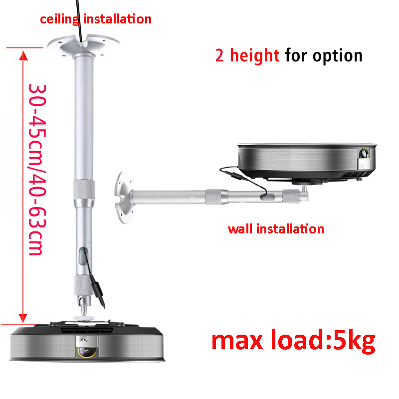 30cm 45cm 40cm 64cm Aluminum Z1 Z4X Z5 H1S J6S C6 V8 Mini Projector Wall Mount Ceiling Bracket 360 Rotate 2 Tube Extendable