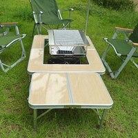 Garden Sets Aluminium Alloy Outdoor Portable Barbecue Grill Fold Picnic Desk Occasional Table