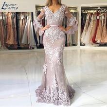 LAYOUT NICEB Speaker Sleeves Mermaid Evening Dresses Elegant Lace Appliques Formal Prom Party Gown Celebrity suknie wieczorowe