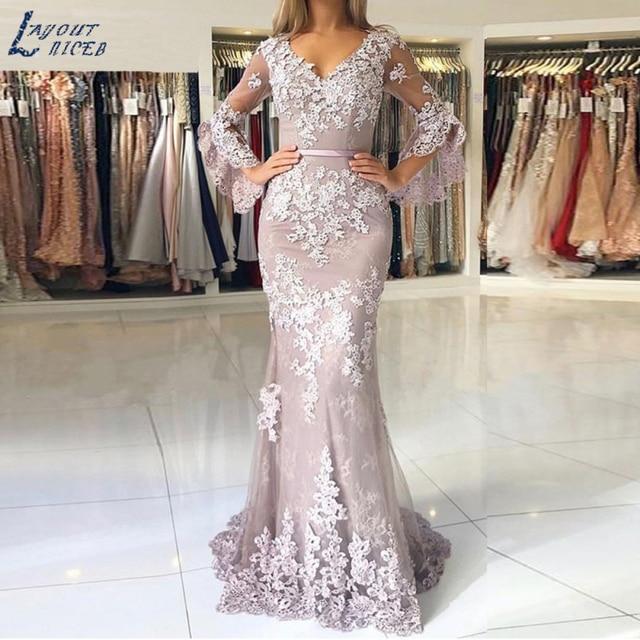 Mise en page robe de soirée forme sirène, tenue de soirée élégante haut parleur, dentelle appliquée, manches, célébrité suknie