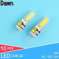 10 pcs Dimmable COB G4 Ampoule LED 6 W 10 W AC 220 V ACDC 12 V LED Lampe Cristal Led Lampadine Lampara Ampoule LED Ampoule G4 Zarovka