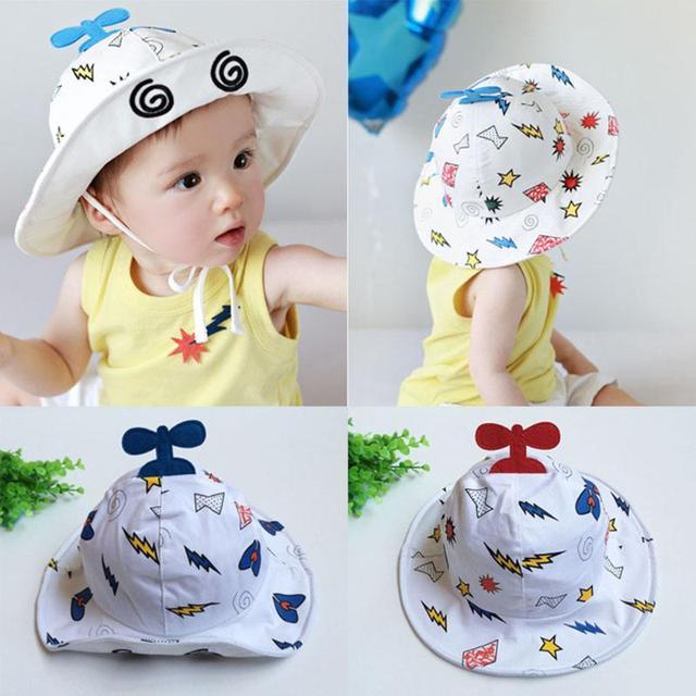 Infant Boy Girl Aircraft Caps Summer Baby Cotton Bucket Hat Sun Caps with Chin  Strap Children Fisherman Cap Cartoon Kids Hat 86827f6e104