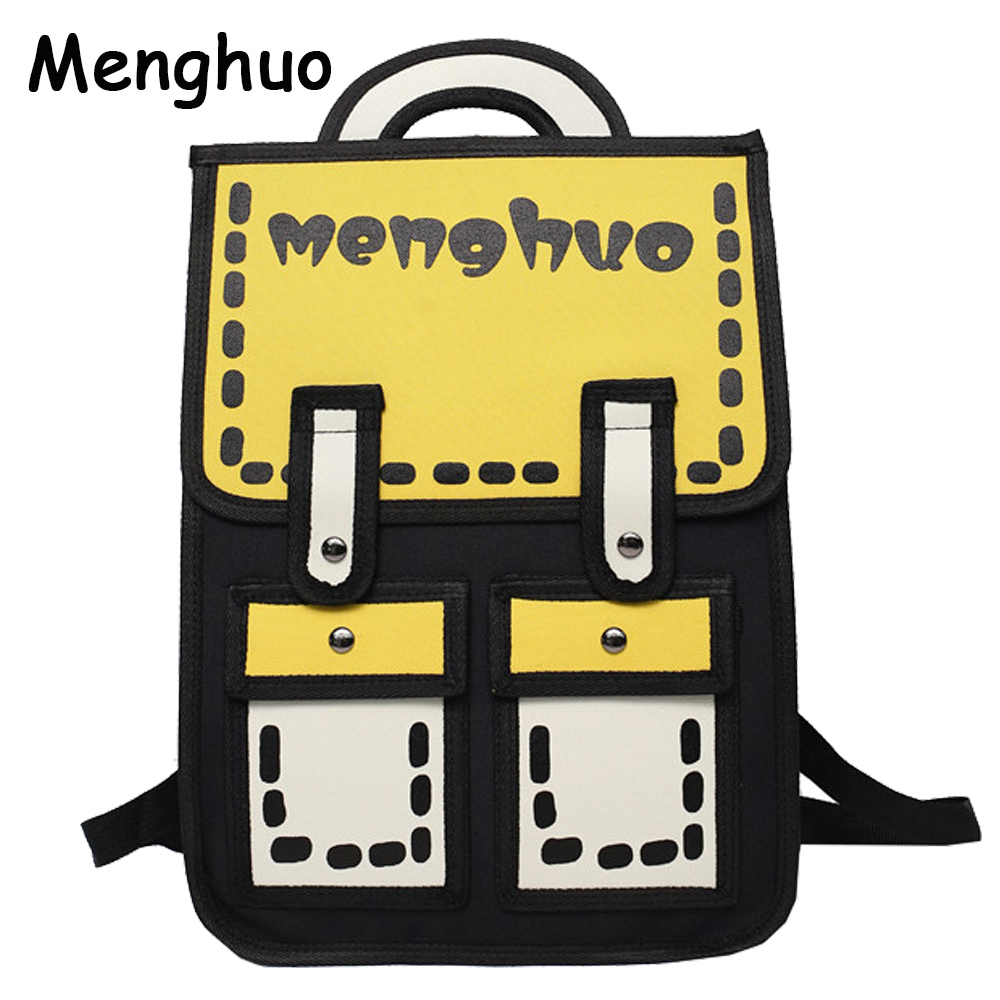 Menghuo 3D Anime Bag Cartoon Women Backpack School Bag 3D Style Canvas 2D Travel Drawing Book Mochila for Teenagers Girl Mochila