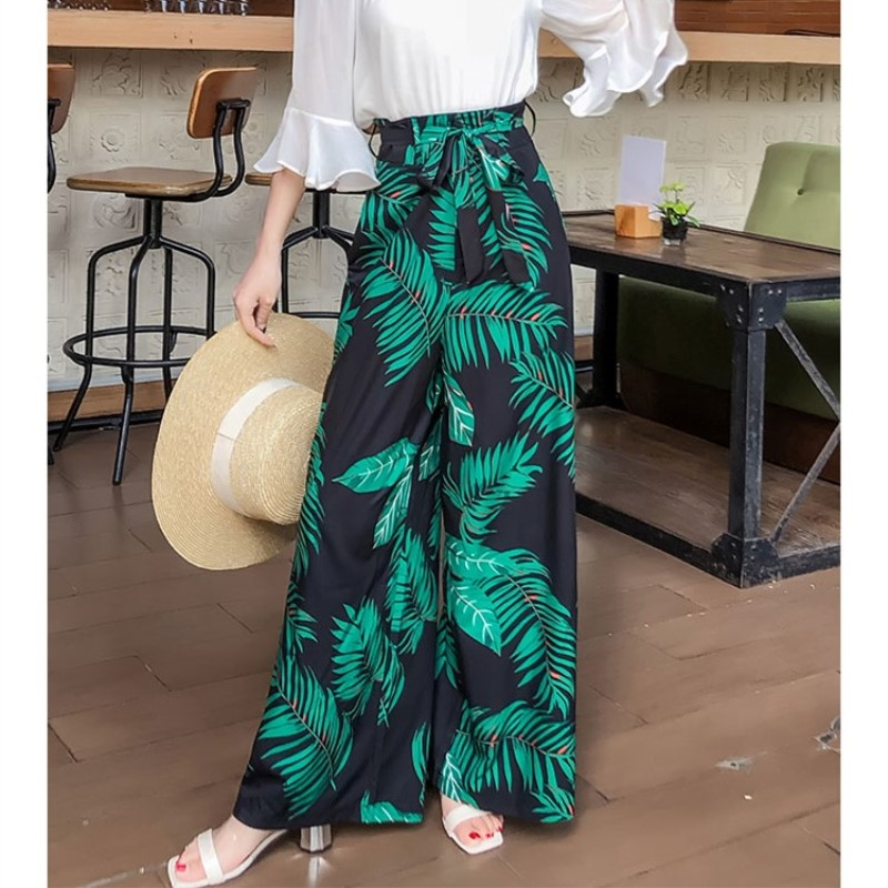 Pottis Beach Printed   Wide     Leg     Pants   2018 New Fashion Resort   Pants   Large Size Bohemia   Wide     Leg     Pants   Beach Beach   Pants