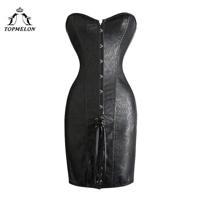 TOPMELON Corset Dress Bustier Gothic Steampunk Corselet Punk Lace Up Corset Women Sexy Black Leather Party Club Short Dress