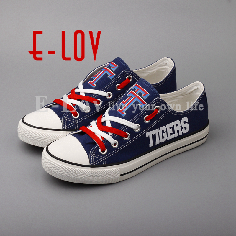 E-LOV 2018 Tidehaven Tigers Canvas Shoes Low Top Color Lace Blue Casual Shoes Group Order Wholesale Big Size e lov women casual walking shoes graffiti aries horoscope canvas shoe low top flat oxford shoes for couples lovers