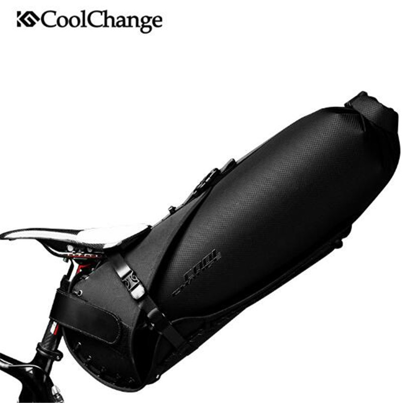 CoolChange 20L Large Capacity Foldable Tail Rear Bicycle Bag Cycling MTB Trunk Pannier Backpack Waterproof Bike Saddle Bag rockbros mtb road bike bag high capacity waterproof bicycle bag cycling rear seat saddle bag bike accessories bolsa bicicleta