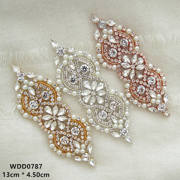 30pcs Rhinestones Appliques Accessory for wedding belt rose gold clear  crystal beads sewing on bridal sashes WDD0787-in Rhinestones from Home   Garden  on ... cf386abb2764