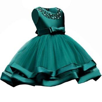 457788af1 Verano niños niña flor pétalos Vestido niños dama de honor niño elegante  Vestido Infantil Formal Vestido de fiesta verde