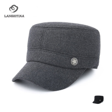 Men Wool Felt Military Cap Army Cap Plain Dad Hat Autumn Winter Copper Star Logo Thicken Keep Warm Flat Cap with Earmuffs Gorras