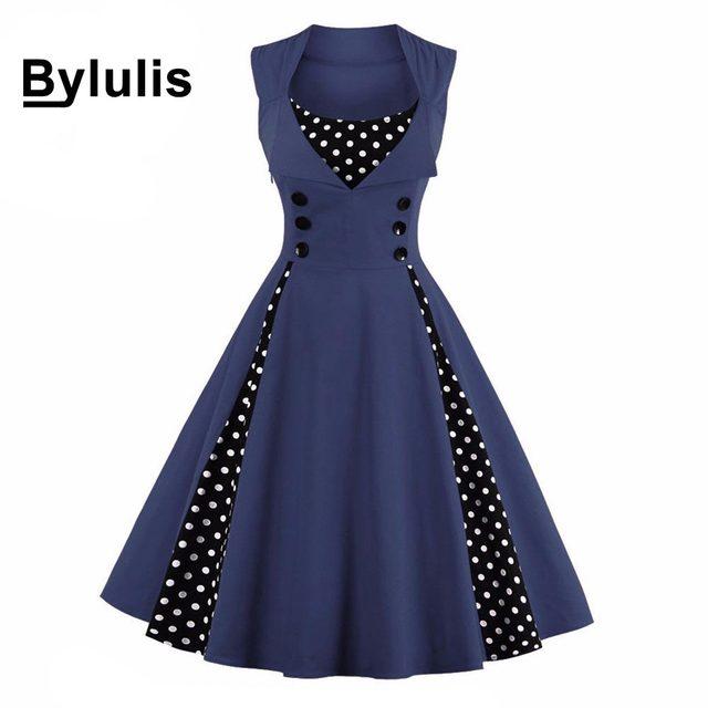 Bylulis Plus Size Elegant Retro Vintage 50s Dress Sleeveless High