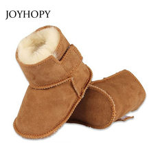 JOYHOPY winter baby First Walkers infants warm shoes Faux fur girls baby booties Leather boy baby boots(China)