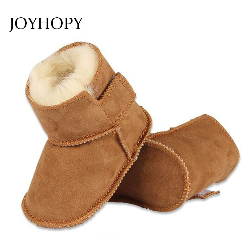 JOYHOPY winter baby First Walkers infants warm shoes Faux fur girls baby booties Leather ...