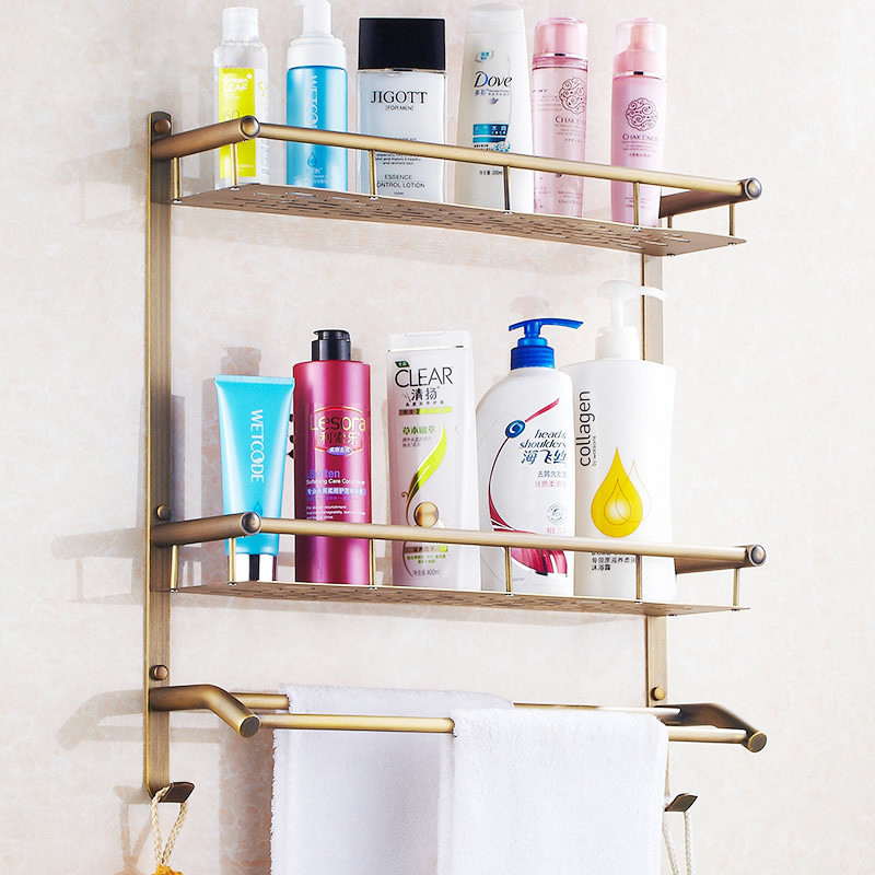 Bathroom Shelves 2 Tier Antique Brass Bath Shelf Towel Bars Hanger ...