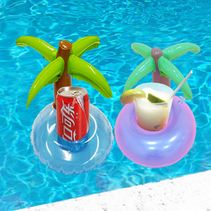 5 pieces set mini coconut tree drink holder inflatable How to make swimming pool water drinkable