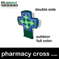 Led аптека крест экран P16 Полноцветный 800x800 мм Двусторонняя больницы экран крест