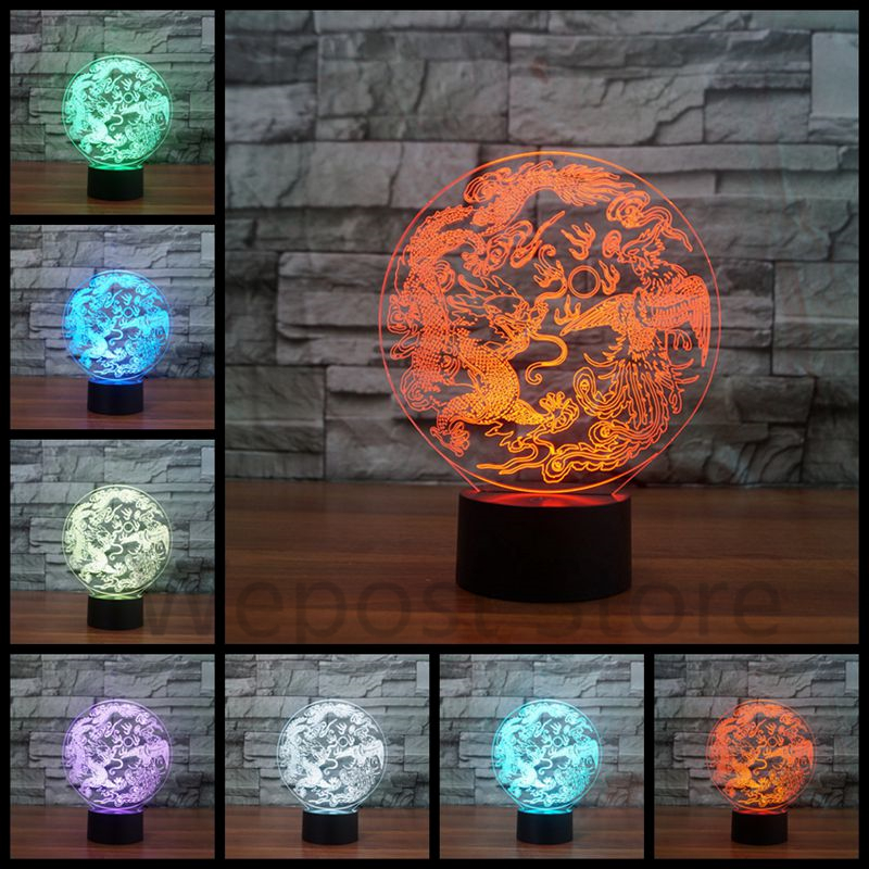 Modern Chinese Traditions Night Light Dragon Phoenix Illusion LED Table Lamp  7 color changing Touch VisualCompare Prices on Lighting Phoenix  Online Shopping Buy Low Price  . Modern Lighting Phoenix. Home Design Ideas
