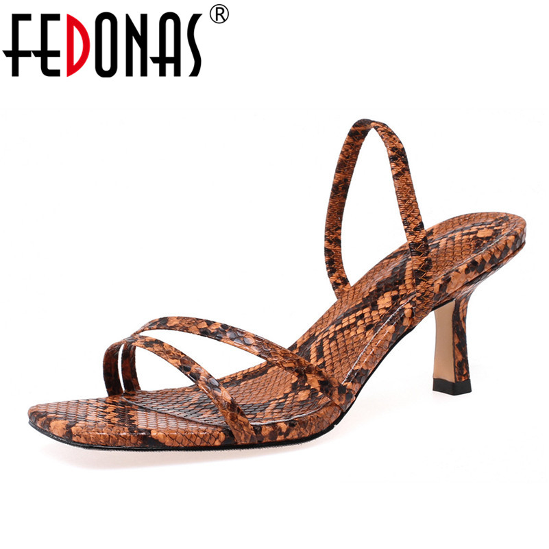 FEDONAS New Summer Women Fashion Sexy Animal Prints Back Strap Sandals Square Toe Thin High Heels Basic Party Casual Shoes Woman