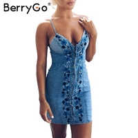 BerryGo Sexy Lace Up Flower Denim Dress Women Blue Beach Party Embroidery Short Vestidos Vintage Bodycon