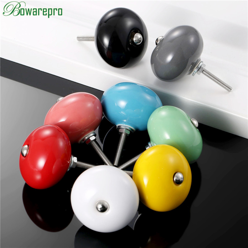 bowarepro Door Knobs Ceramic Drawer Knob Cabinet Pulls Closet Cupboard Pull Handle Kitchen Furniture Accessories Colors 8pcs 2pcs set stainless steel 90 degree self closing cabinet closet door hinges home roomfurniture hardware accessories supply