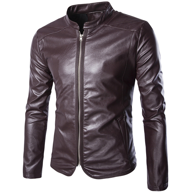 New PU Leather Jacket Men Brand Design Cool Motorcycle Leather Jacket Men Casual Slim Fit Stand Collar Zipper Veste Cuir Homme