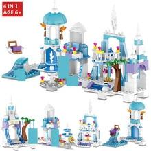 лучшая цена 4 IN 1 Snow Queen Ice Castle Anna Elsa Figures Mermaid Ariel Beauty Princess Building Blocks LegoINGLs Friends Toys for Children