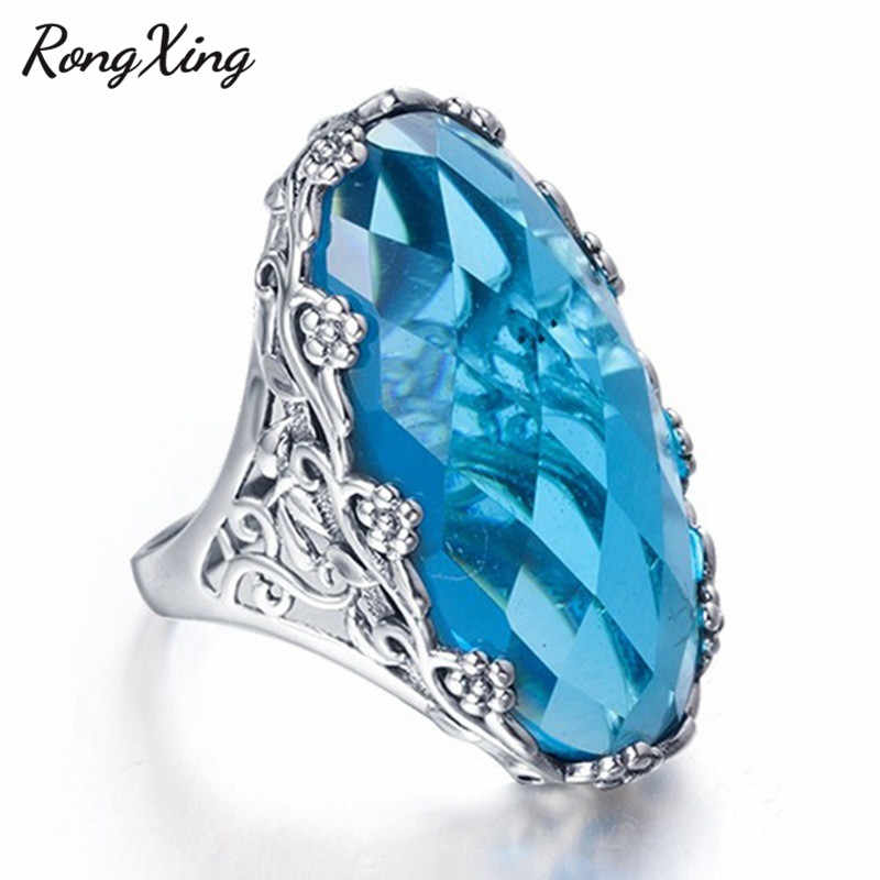 RongXing Oval Aqua Blue Crystal Zircon Big Stone Rings for Women Retro 925 Silver Filled December Birthstone Ring Finger Jewelry